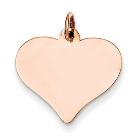 14k rose gold heart pendant flat for engraving weighs 96g measures 34w x 1316h