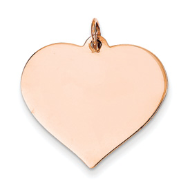 14k rose gold heart pendant flat for engraving weighs 152g measures 1w x 1h