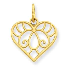 14k gold heart pendant weighs 3g measures 916w x 1116h