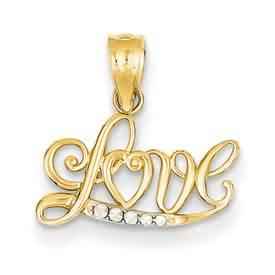 14k gold Love pendants with rhodium accents weighs 5g measures 58w x 58h