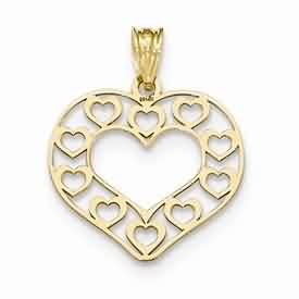 14k gold laser cut heart pendant with several cutout hearts weighs 75g measures 1316 x