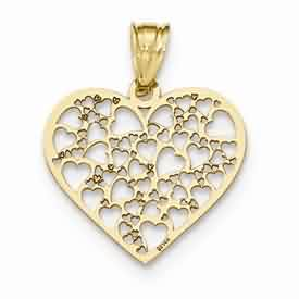 14k gold laser cut heart pendant with several large and small hearts weighs 82g measures