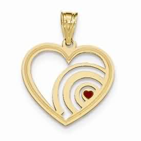 14k gold laser cut heart pendant with enamel weighs 111g measures 78w x 1 116h