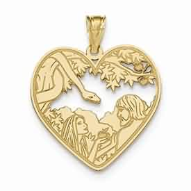 14k gold laser cut Adam and Eve Heart pendant in the Garden of Eden with a snake weighs 2