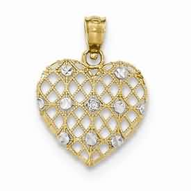 14k gold heart pendant with 12pt diamond weighs 57g measures 58w x 1316h