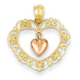 14k gold two tone rose filigree heart pendant dangling weighs 75g measures 1116w x 34h