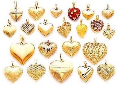 gold puffed heart pendants