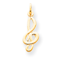 clearance item 14k gold treble clef charm pendant