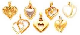 medium gold heart pendants